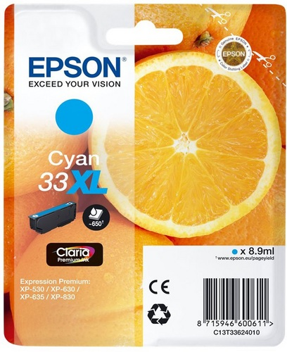 Epson 33XL, TPA cyan, 650s, 8.9ml
