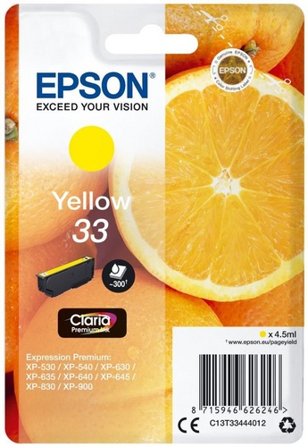 Epson 33, TPA yellow, 300s, 4.5ml