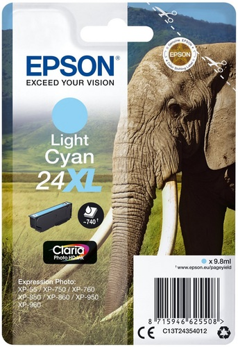 Epson 24XL cyan claro, 740 pagine, 9.8ml