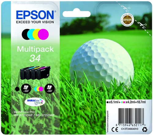 Epson 34 Multipack, TPA 4-colours DURABrite Ultra, 350 Seiten, 18.7ml
