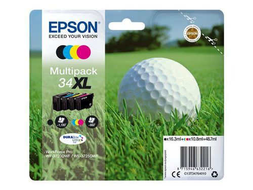 Epson 34XL Multipack, TPA 4-colours DURABrite Ultra, 1'100 Seiten, 48.7ml