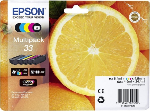 Epson 33 Multipack, TPA schwarz, photo schwarz, cyan, magenta & yellow