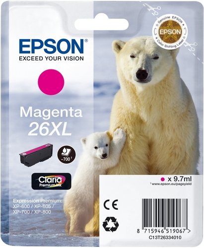 Epson T26XL, TPA magenta, 700 Seiten, 9.7ml