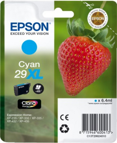 Epson 29XL, TPA cyan, 450s, 6.4ml