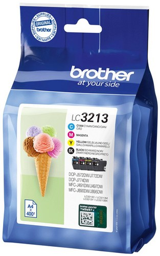 Brother LC3213VAL, cartouches d'encre noir, cyan, magenta, jaune, Value Pack