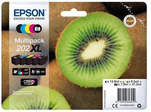 Epson 202XL Multipack, cartouches d'encre noir, cyan, magenta, jaune, photo noir