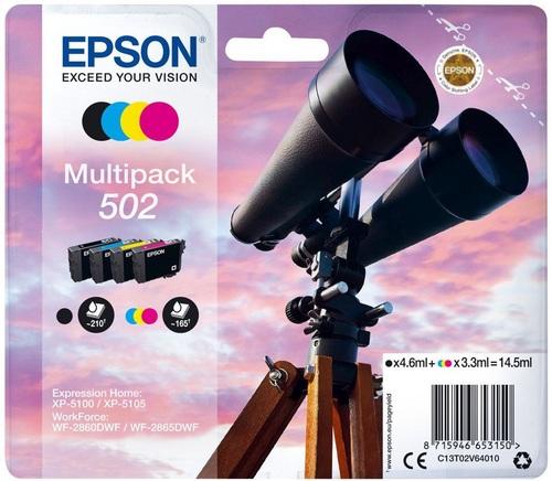 Epson 502 Multipack, cartouches d'encre noir, cyan, magenta, jaune, photo noir