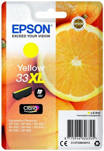 Epson 33XL, TPA yellow, 650s, 8.9ml