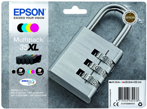 Epson 35XL Multipack, cartouches d'encre noir, cyan, magenta, jaune