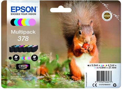 Epson 378 Multipack, cartouches d'encre noir, cyan, magenta, jaune