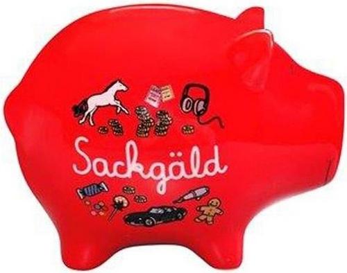 Sparschweinchen: Sackgäld - Spardose [12cm]